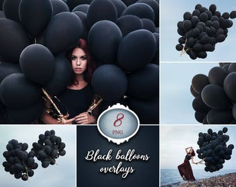 8 black balloons photo overlays, photoshop overlay, balloon photography, photography prop, digital download, photo, png file clip art baloon