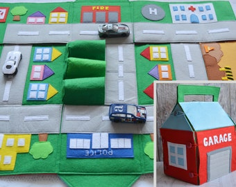 Felt track for boy Baby car play mat Quiet time Activity mat Play board Road map kids game Toy car storage Road play mat