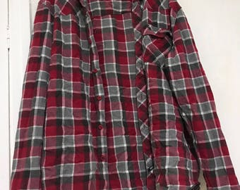 90s GRUNGE STYLE red/grey flannel SIZE M
