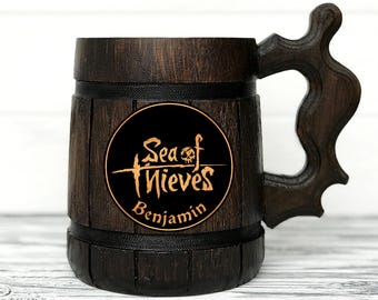 Gamer Mug. Sea of Thieves Gift. Sea Of Thieves Mug. Sea of Thieves Stein. Custom Beer Steins Wooden Beer Tankard Personal Gifts for Men #84