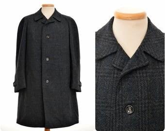 vintage Wool Coat for men by ODERMARK / size Eur 50, M, medium / check pattern / Spezialanfertigung für Wöhrl / pure new wool
