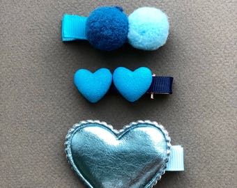 Hair clips blue heart