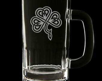 Etched St Patricks Day Beer mug clover. Handcrafted - St. Patrick's Day gift - Celtic, Irish