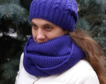 Knitted set with hat and infinity scarf Family look