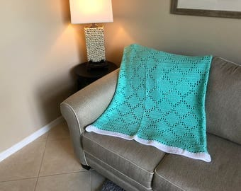 Mint Diamond Pattern Afghan