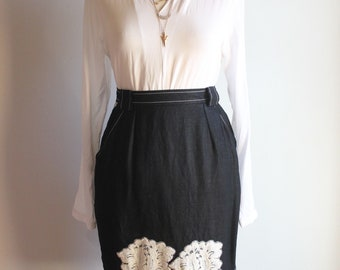 Pencil skirt high waisted black linen and embroidery patch lace Chantal Thomass