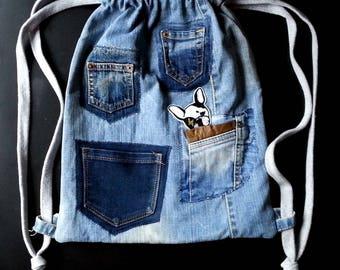 Denim backpack with pockets