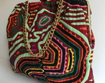 Vintage Rainbow Colors Pop Art Quilted Purse // Picasso Style Fashion