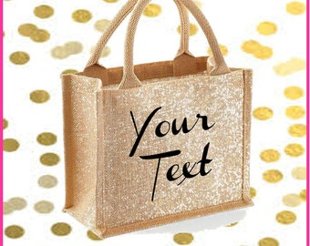 Mini shimmer gold jute bag with personalised text print of choice in black, shopper bag, beach bag