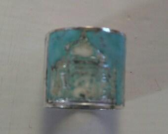 Taj Mahal enamel and silver ring