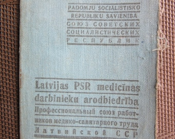 Russia USSR - Latvia  revenue  75  stamps  Medicine Workers  union member card 1945 - 1950