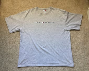 Men's Vintage 90s Tommy Hilfiger Spell Out Gray T Shirt Size 2Xl