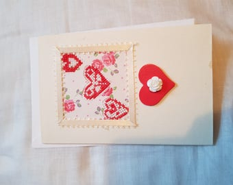 Cross Stitched Valentines Card