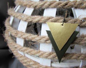 Earrings leather khaki/gold
