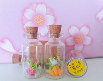 5 Lucky Miniature Orizuru (Origami Crane), 1 Glass Bottles - Define Yourself