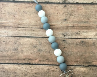 Teething Pacifier Clip - grey & white