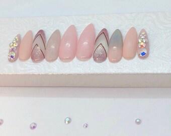Pink Nails / Glitter Nails / Ombre Nails / Matte Nails / Stiletto Nails / Holographic Nails / Press On Nails / False Nails / Glue On Nails