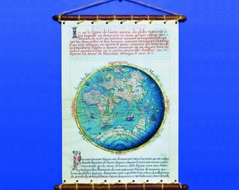 Ancient Old Rare World Map, Jacques de Vaulx 1583, Print On 100% Cotton Canvas, Swen to a Round Wooden Hanger Frame with Vintage Rope