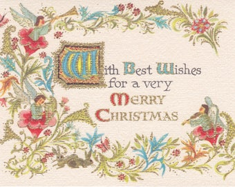 Vintage 1960s Christmas card by Carrington in the style of an illuminated manuscript