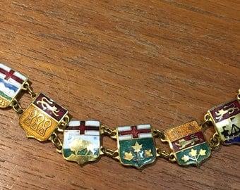 Vintage 1950s Goldtone & Enamel Shield Link Souvenir CANADIAN PROVINCES Bracelet