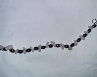 Rose quartz, hematite bracelet