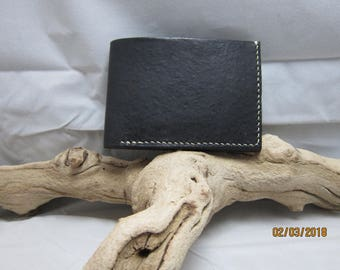 Black Hand Stitched Leather Wallet