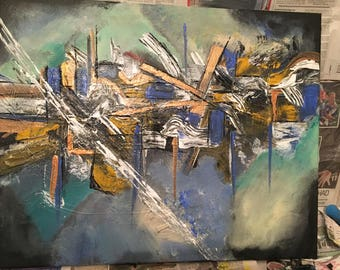 Abstract art painting acrylic on canvas