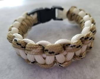 White and Sand Camo Paracord Bracelet