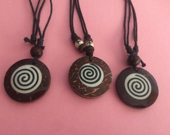 A Hand Made Painted Wooden Pendant Necklace