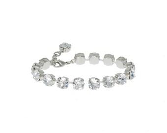 Medium Crystal Tennis Bracelet, Diamond Clear Crystal Bracelet, Swarovski Bracelet, Bridal Bracelet, Wedding Jewellery, Bridesmaid Bracelet