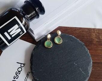 Gold Plate Gem Drop Earrings