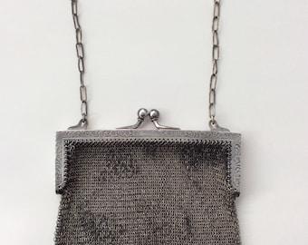 Antique mesh silver purse