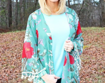 Melodic Bloom Kimono Style Cover Up