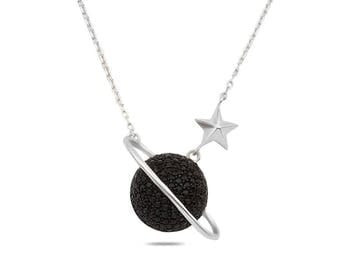Silver Necklace with Black Stone