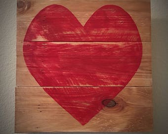 Rustic Wooden Pallet Heart Personalize for Valentine's Day