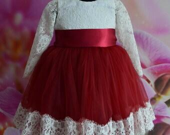 Girl Dress Burgundy ,Tulle Flower Girl Dress,Lace Flower Girl Dress,Birthday Girl Dress,Baby Flower Dress,Burgundy Tutu Dress,Size 2 years
