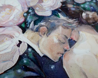 Original Erotic painting, Original  Modern Art, Original art, Original Female Nudity, Original flower painting, Original large painting