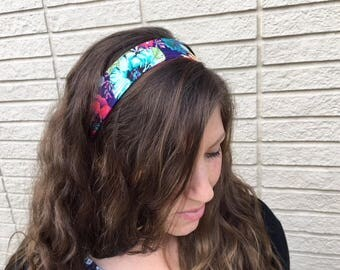 Spring Flowers Cotton Headband--bright, reversible