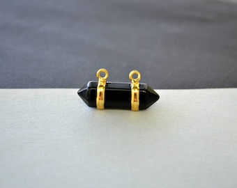 Natural Black Agate Double Terminated Charm - Horizontal Point Stone with Gold Plating - Jewellery Making Supplies