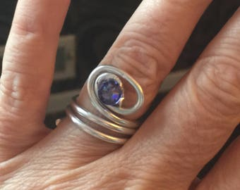 Silver and tanzanite Swarovski crystal swirl ring
