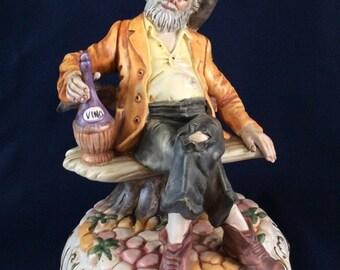 Large Capodimonte Style Figure Figurine Drunkard Man Drinking Wine 26cm