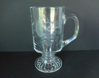Vintage Princess House Heritage Pattern Irish Coffee Mug Etched Crystal Footed