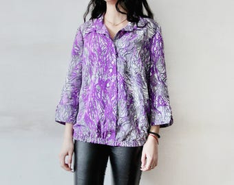 VINTAGE Abstract Print Blouse Long Sleeve Purple Blouse Gray Purple Shirt Abstract Print Purple Shirt Collared Blouse Gray Lavender Blouse