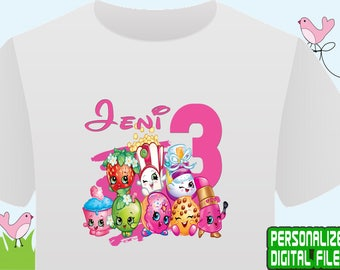 Shopkins Iron On Transfer, Shopkins Birthday Shirt, Girl Birthday Shirt, Shopkins Shirt DIY, Shopkins Party, Personalize Name, Digital File