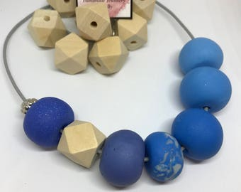 Out of the blue polymer bead necklace