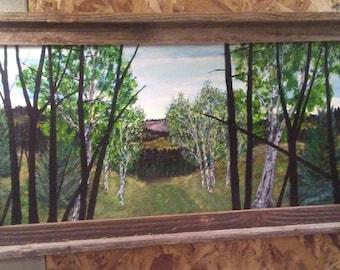 Gift Idea,  Landscape Painting, 12x24 canvas original, by Bob Werle 2018.