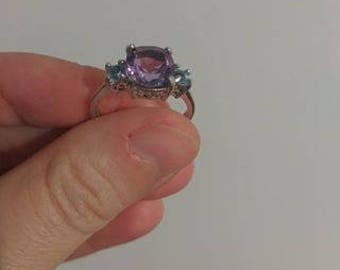 Amethyst and blue topaz sterling silver ring