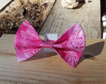 Small Dog Cat Bow Tie Accessory - Pink Paisley
