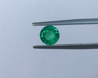 1.26Cts Natural Zambian Emerald AAA Grade 7MM Round Cut Faceted Wholesale Lot Loose Gemstone