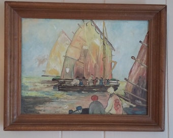 Vintage Chinese Junk Boat oil painting signed Calhoun